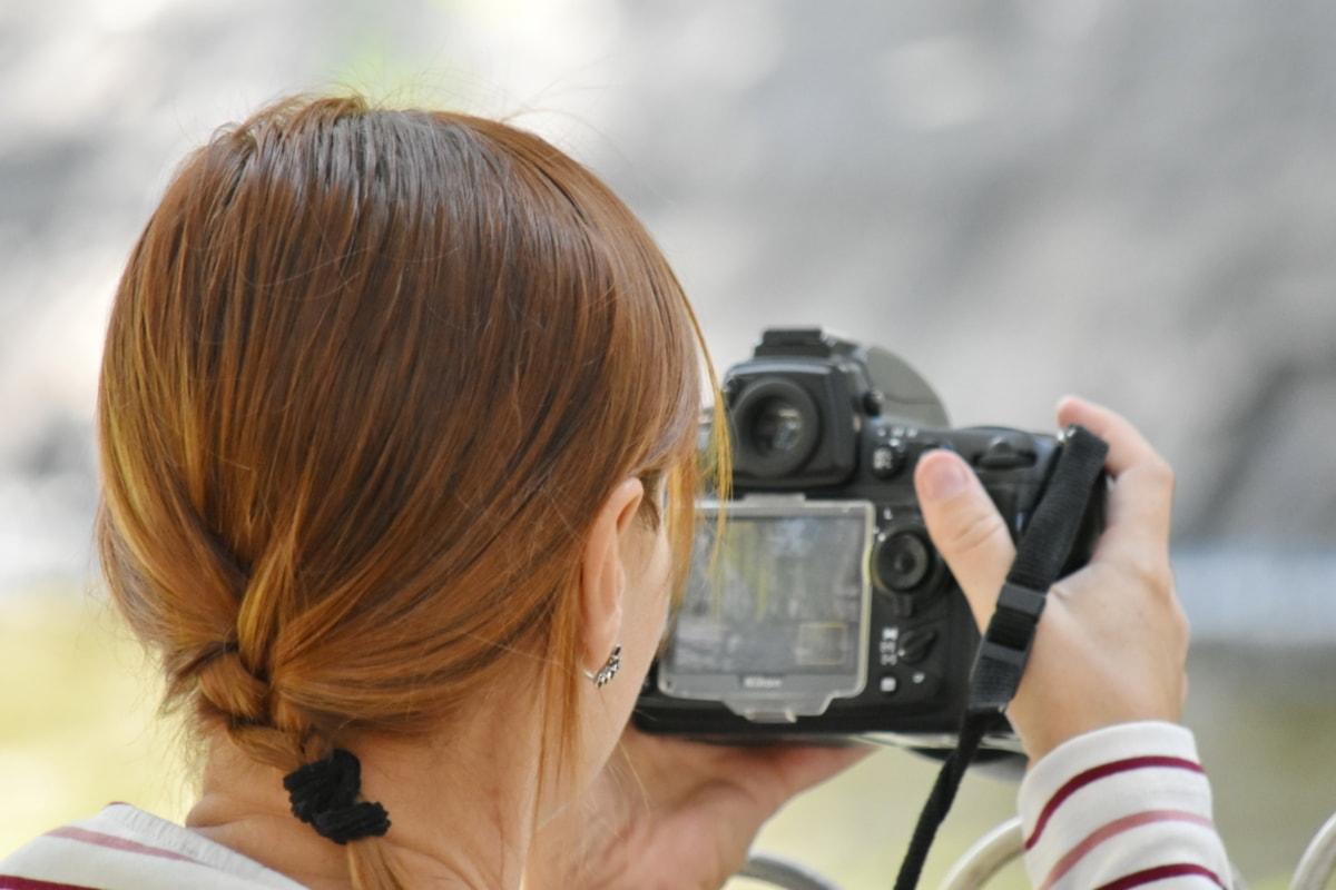brunette, camera, fotograaf, fotografie, lens, apparatuur, vrouw, vrij, natuur, buitenshuis
