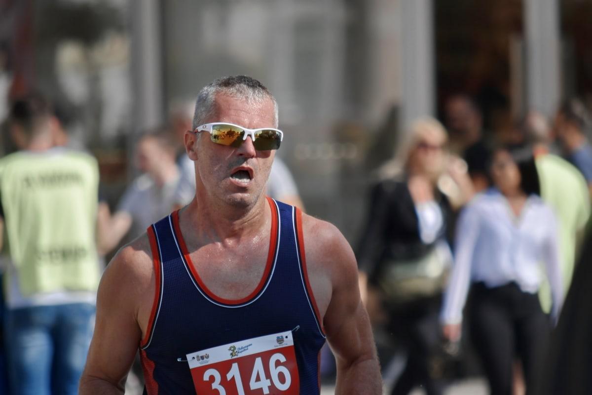 zaufanie, wytrzymałość, maraton, Bieżnia, wytrzymałość, Okulary przeciwsłoneczne, aktywne, aktywność, sportowiec, atrakcyjne