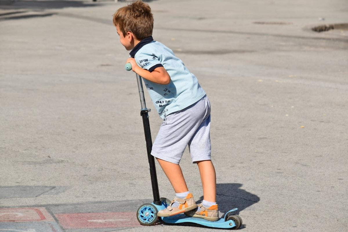 adolescencija, dječak, razigrano, dječje igralište, željezo, sportski, zabava, dijete, klizati, akcija