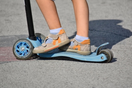 asphalt, footwear, sandal, toys, tricycle, wheels, recreation, exercise, shoe, shoes