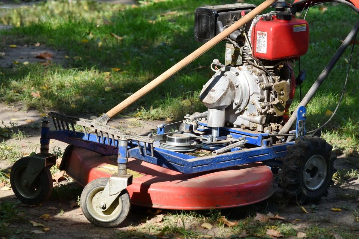 diesel, moteur, pelouse, tondeuse à gazon, outil, véhicule, machine, roue, sol, équipement