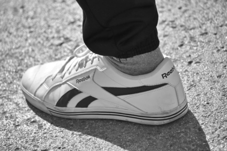 black and white, famous, fashion, old fashioned, sneakers, covering, foot, footwear, clothing, pair