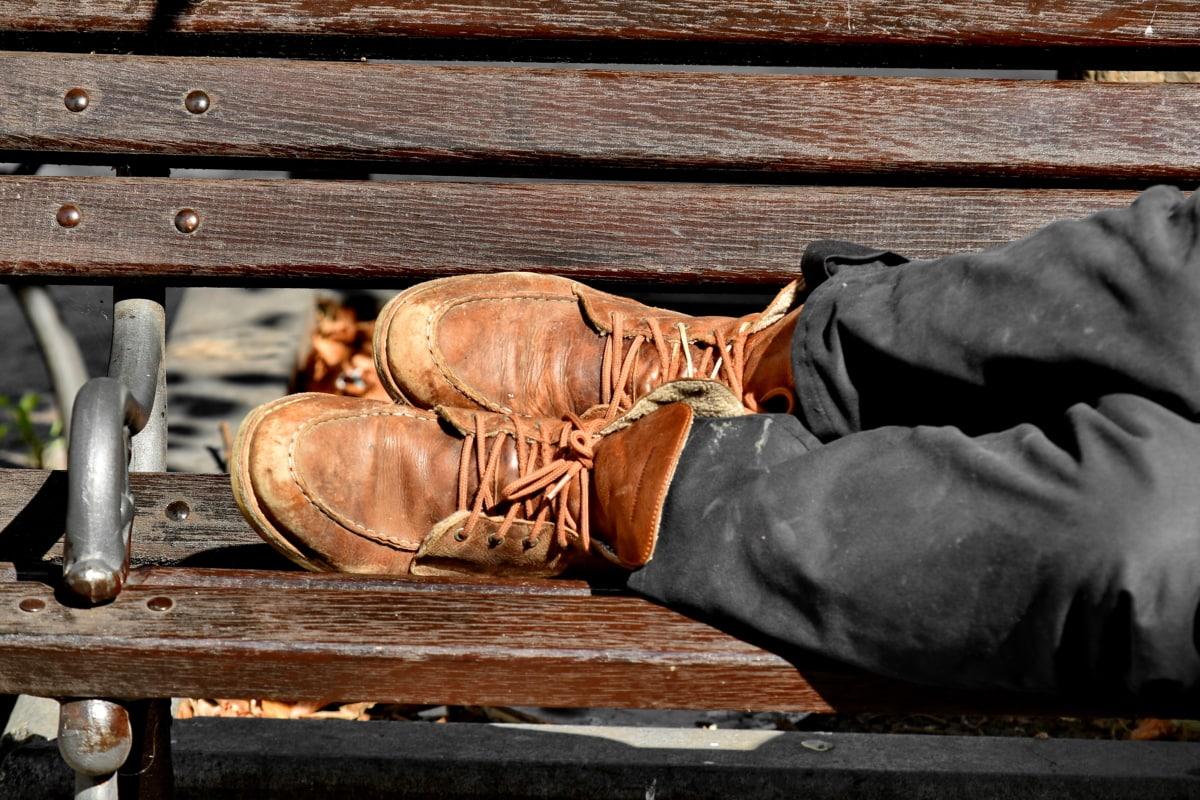 topánky, topánka, obuv, drevo, staré, noha, Vintage, špinavé, kožené, lavica