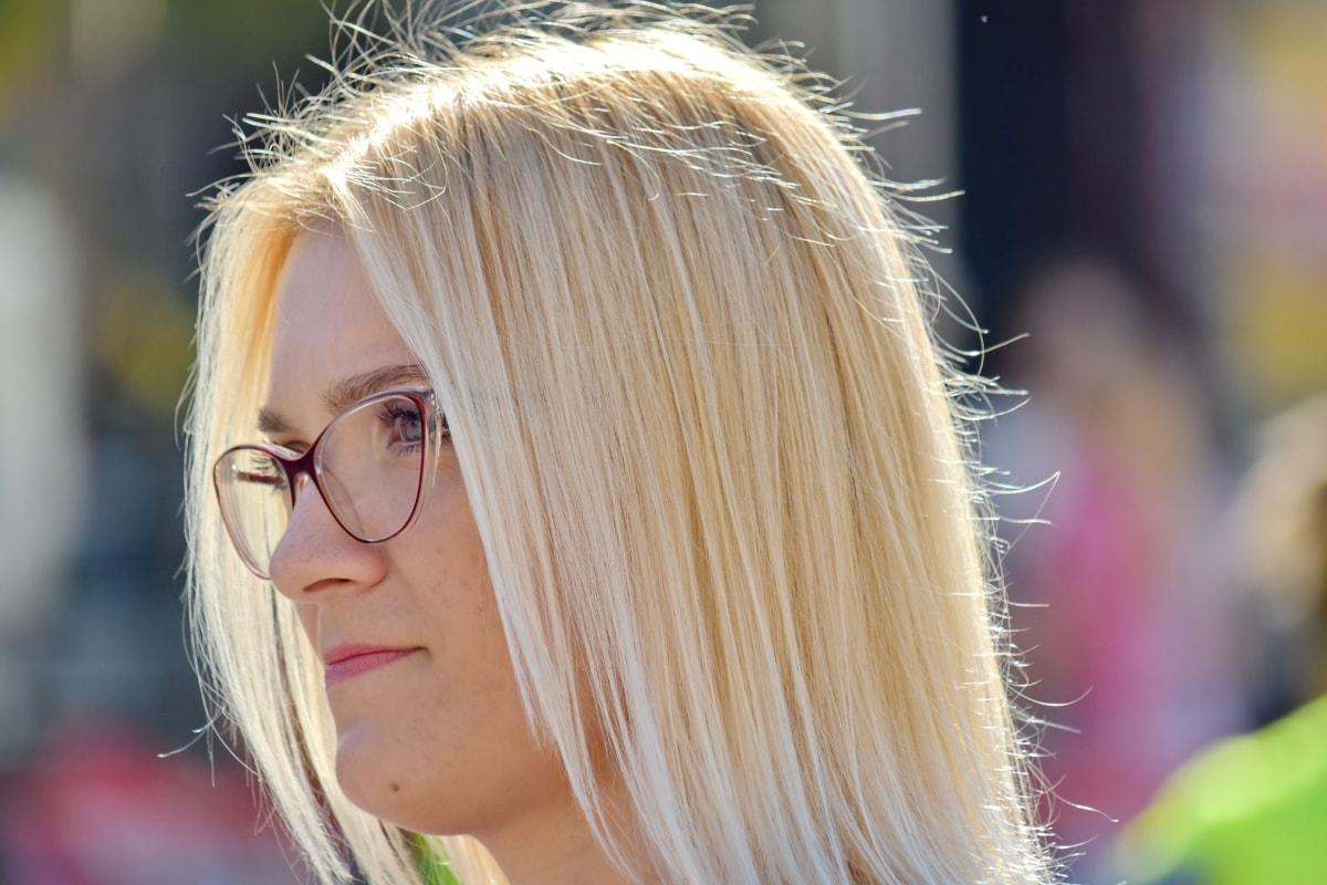 aantrekkelijke, mooie, blonde haren, brillen, aantrekkingskracht, kapsel, make-up, foto-model, Mooi meisje, glimlach