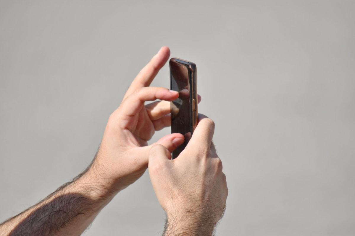 mobilni telefon, dodir, ruka, čovjek, žena, ljudi, telefon, portret, mlado, retro