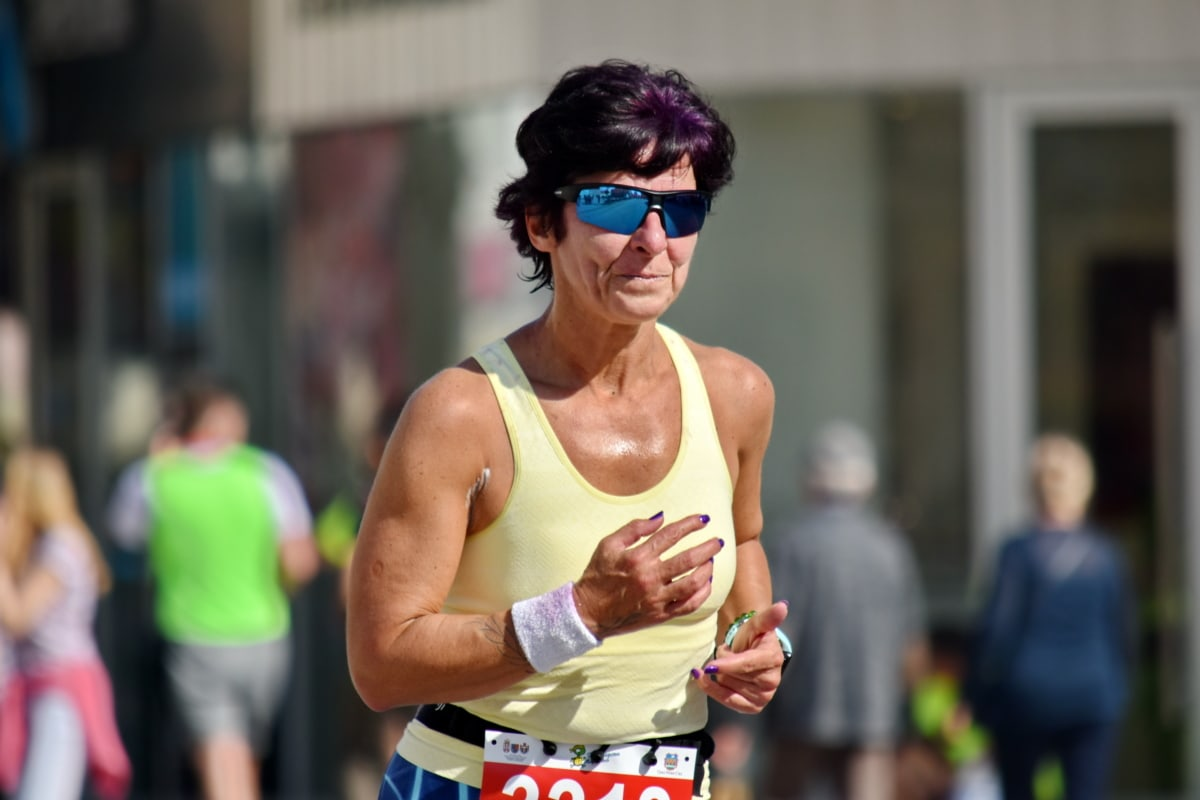 endurance, eyeglasses, face, foot race, grandmother, marathon, portrait, runner, senior, smile