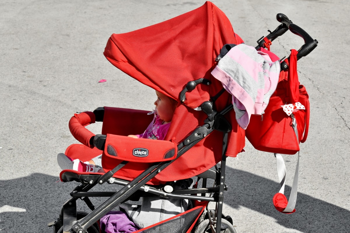 baby, cart, innocence, pavement, young, child, fun, street, baggage, bags