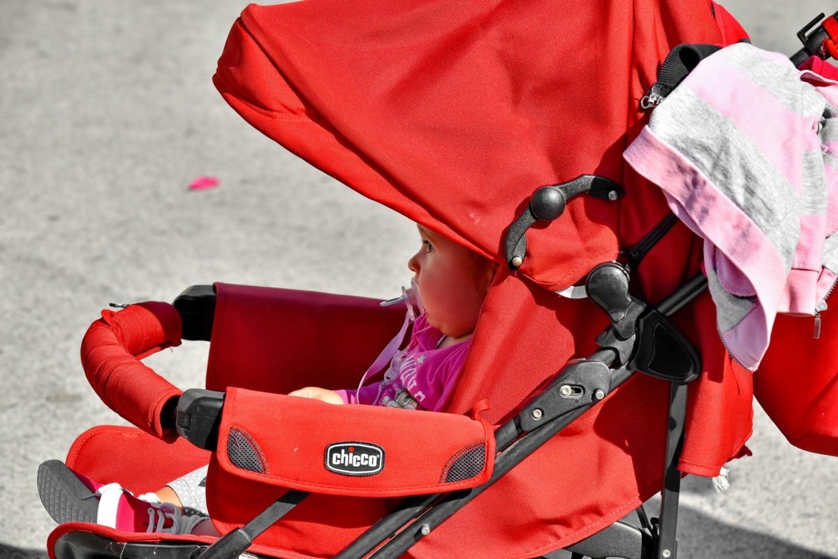 bebé, carro, cara, vertical, vista lateral, niño, al aire libre, diversión, seguridad, ocio