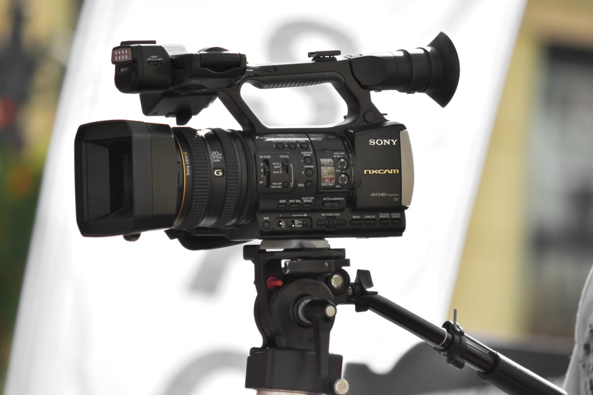 black, camera, equipment, professional, side view, video recording, zoom, lens, tripod, electronics