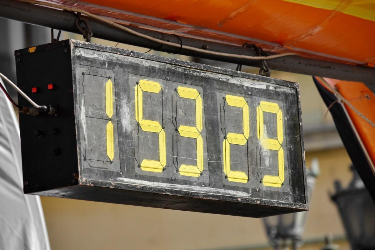 okvir, maraton, broj, vrijeme, sat, sat, prikaz, utrka, električna energija, urbano