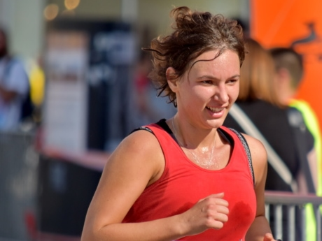 brunette, cheerful, face, portrait, pretty girl, running, running track, smile, woman, fitness
