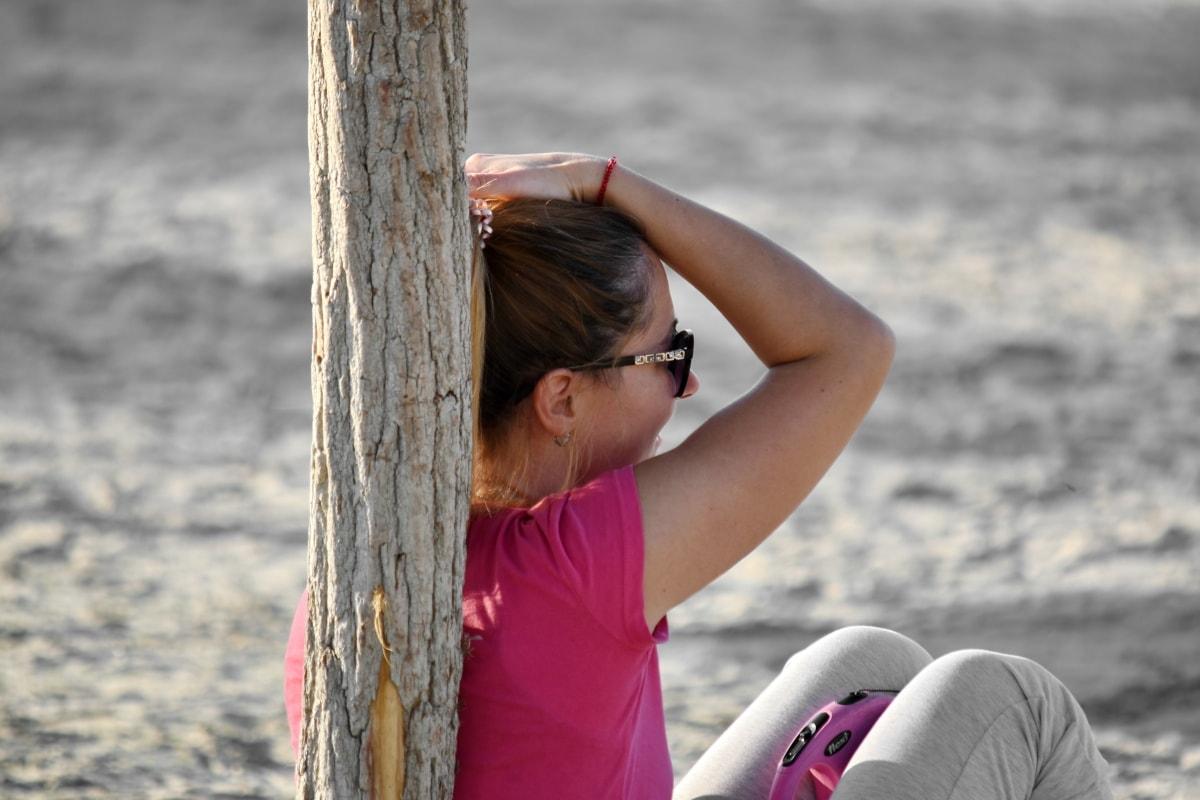 pláž, potešenie, účes, krásne dievča, relax, posedenie, Dovolenka, dievča, príroda, letné