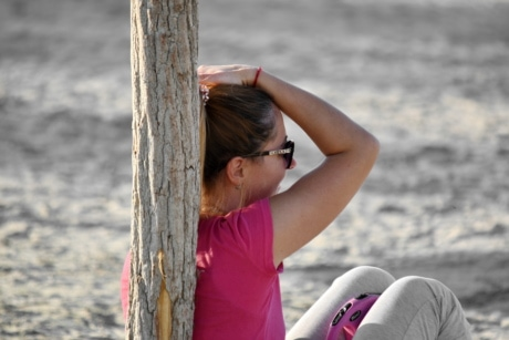 beach, enjoyment, hairstyle, pretty girl, relaxation, sitting, vacation, girl, nature, summer