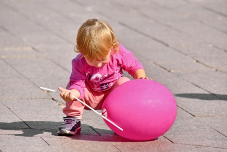 baby, balloon, blonde hair, childhood, happy, pink, playful, fun, child, leisure