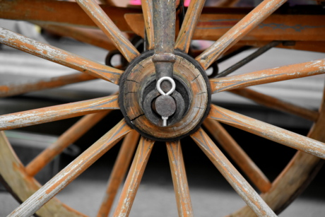 carriage, center, handmade, rural, rust, trading, wheel, wooden, antique, retro