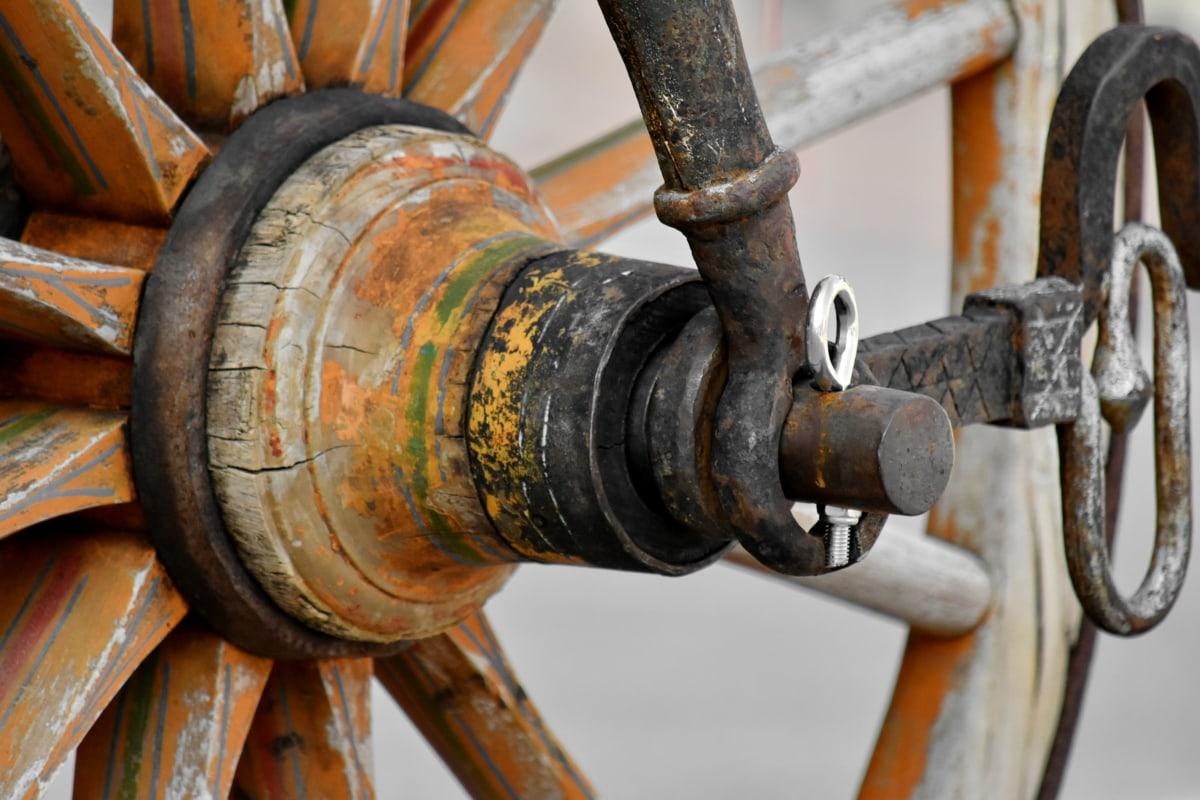 carriage, cast iron, detail, handmade, wheel, steel, rust, iron, old, device