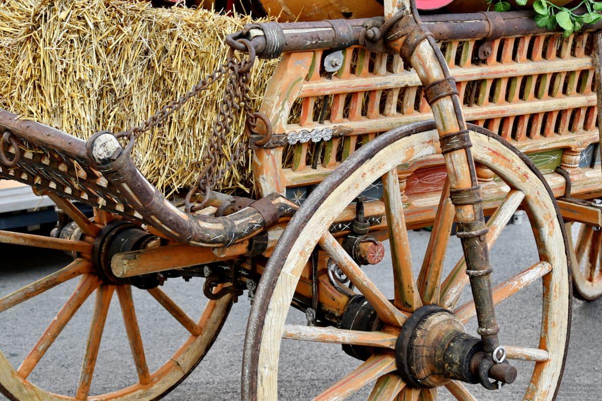 carpentry, carriage, handmade, straw, wheels, antique, wood, old, vintage, wheel
