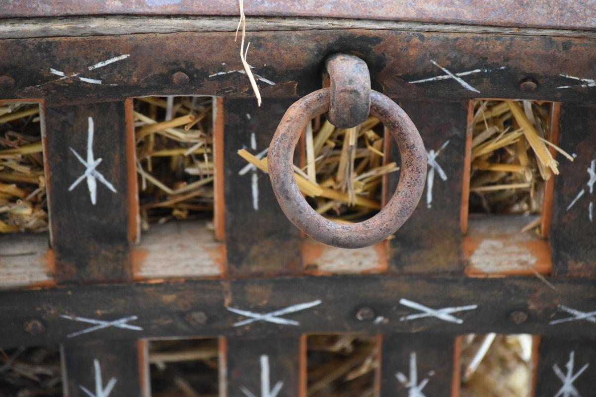 kočár, litina, ručně vyráběné, sláma, železo, dřevo, zařízení, kov, rez, staré