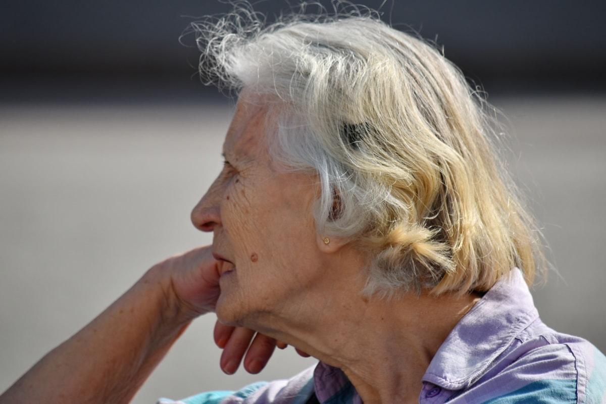 nagymama, frizura, portré, kikapcsolódás, nyugdíj, idősebb, idősek, nő, régi, érett