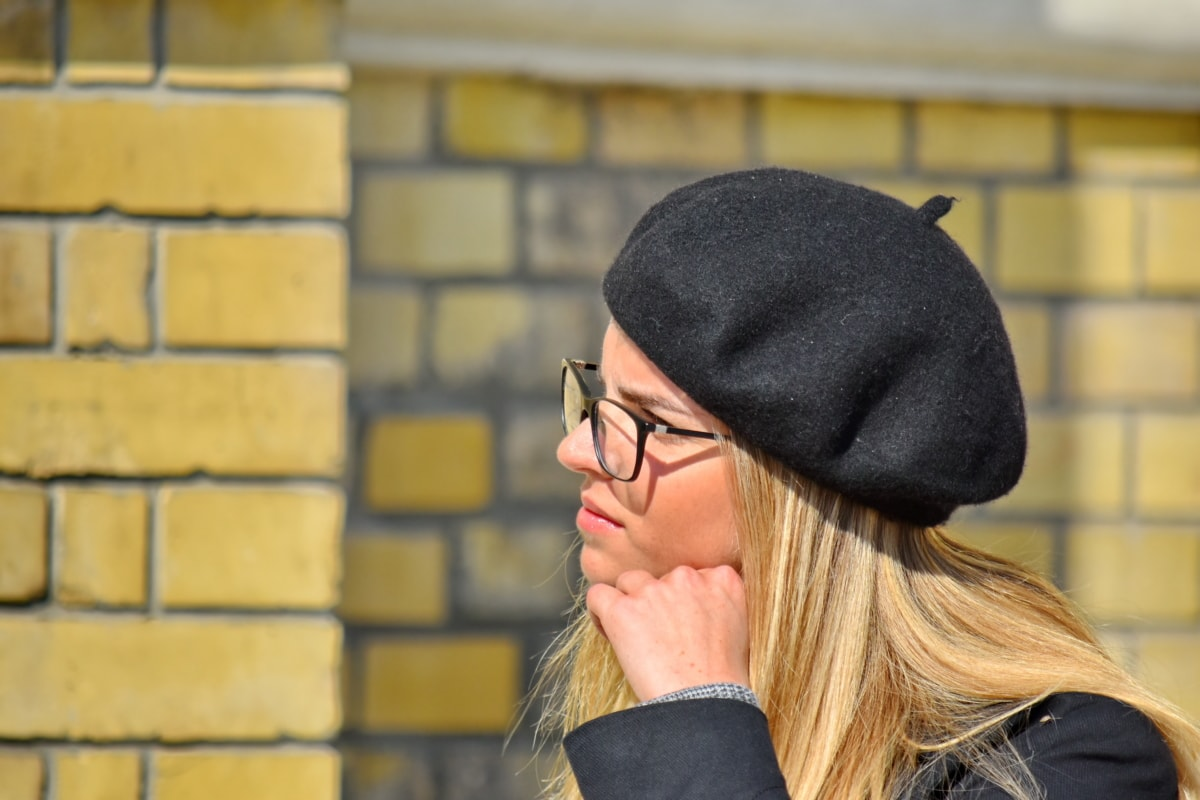blonde hair, eyeglasses, french, glamour, hat, lipstick, makeup, photo model, side view, teenager