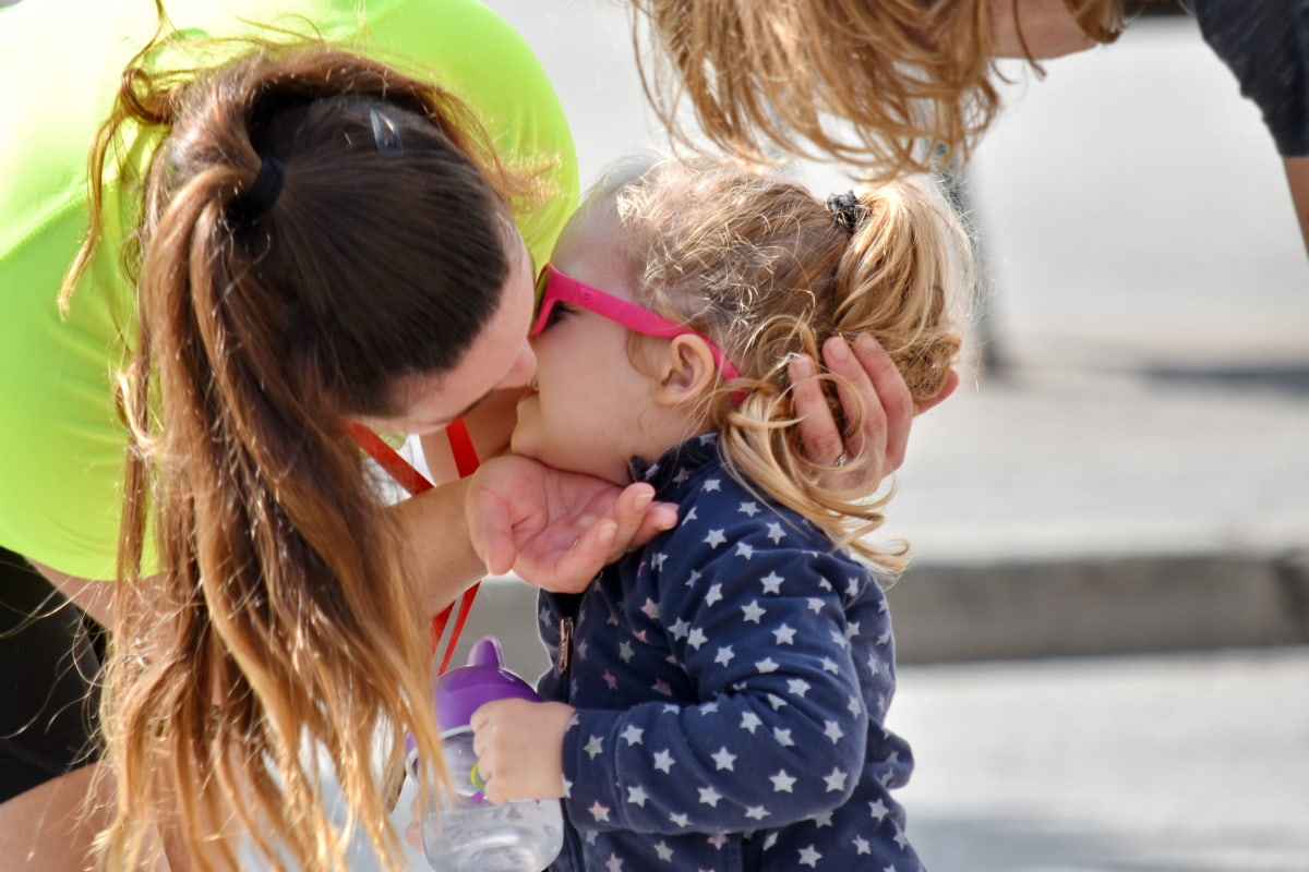 child, daughter, family, kiss, love, mother, togetherness, fun, woman, cute