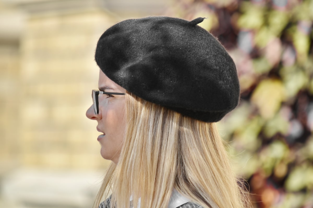 plava kosa, francuski, šešir, lijepa djevojka, sa strane, na otvorenom, žena, ljudi, portret, modni