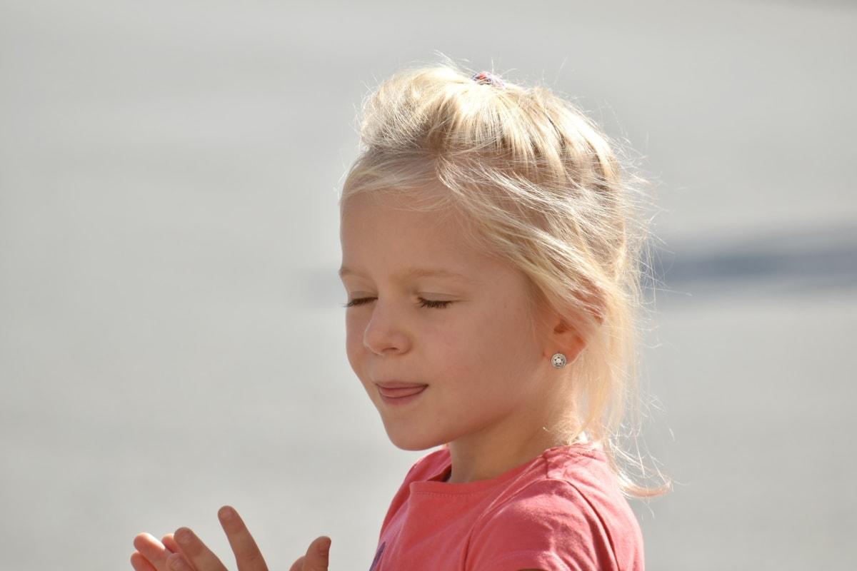 kind, wimpers, gezicht, onschuld, moment, Mooi meisje, kind, blonde, jeugd, schattig
