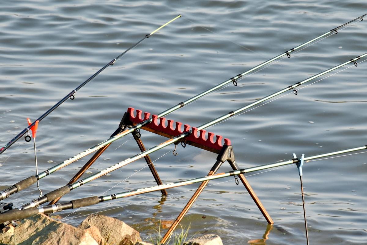 pobrežie, rybársky výstroj, rybársky prút, voda, rieka, reflexie, jazero, príroda, letné, Šport