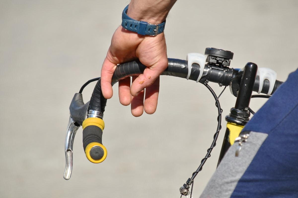 brake, cyclist, gearshift, steering wheel, wristwatch, skate, man, recreation, leisure, equipment