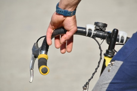 brake, cyclist, gearshift, steering wheel, wristwatch, skate, man, recreation, leisure, equipment