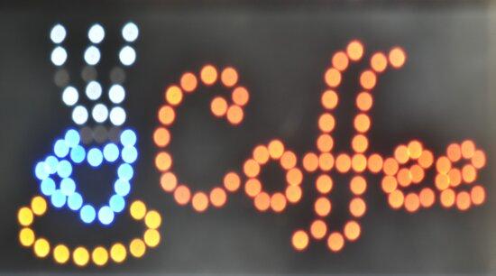 reklame, kaffe, Diode, belysning, lys, pære, markedsføring, neon, Restaurant, tegn