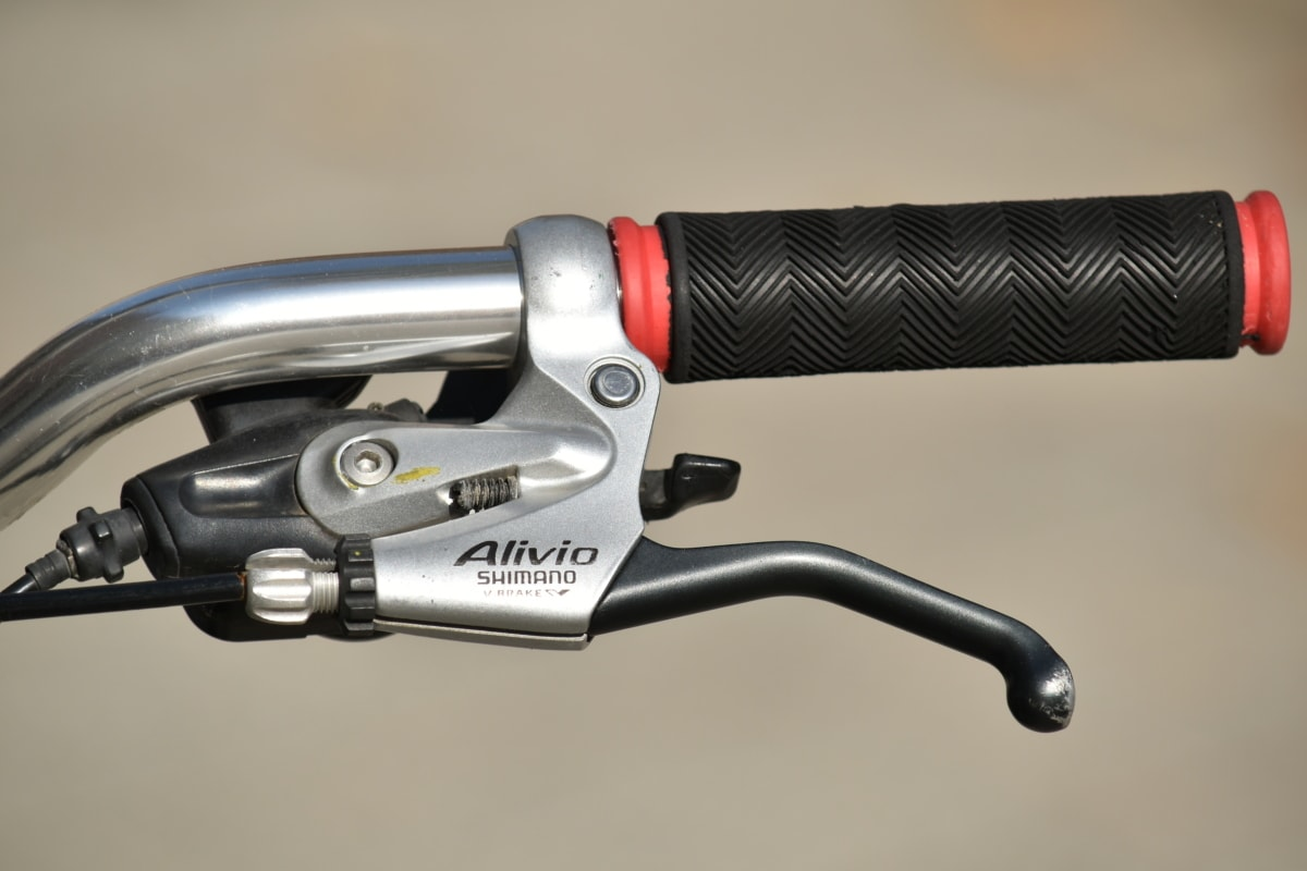 sykkel, brems, krom, girskifte, håndtere, metallisk, gummi, rattet, Metal, stål