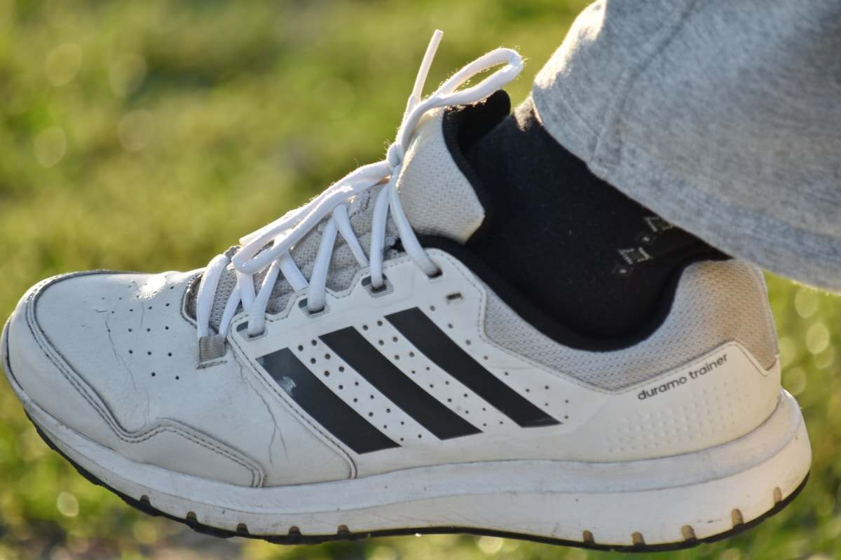 black and white, leg, shoelace, sneakers, sport, foot, leather, pair, footwear, fashion