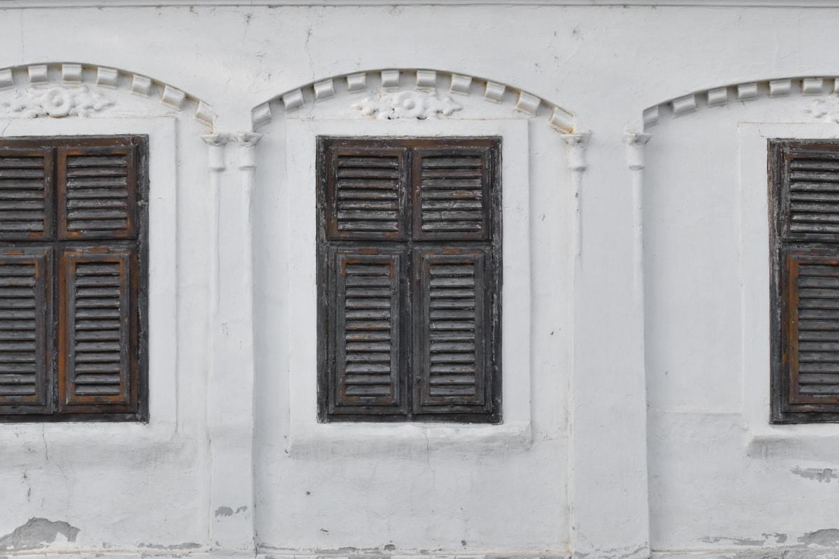napušteno, propadanje, prozori, prozor, staro, drvo, zgrada, kuća, arhitektura, ulica