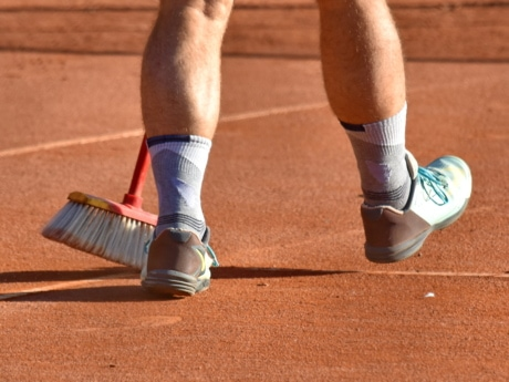 broom, legs, sneakers, tennis court, footwear, competition, tennis, recreation, athlete, foot