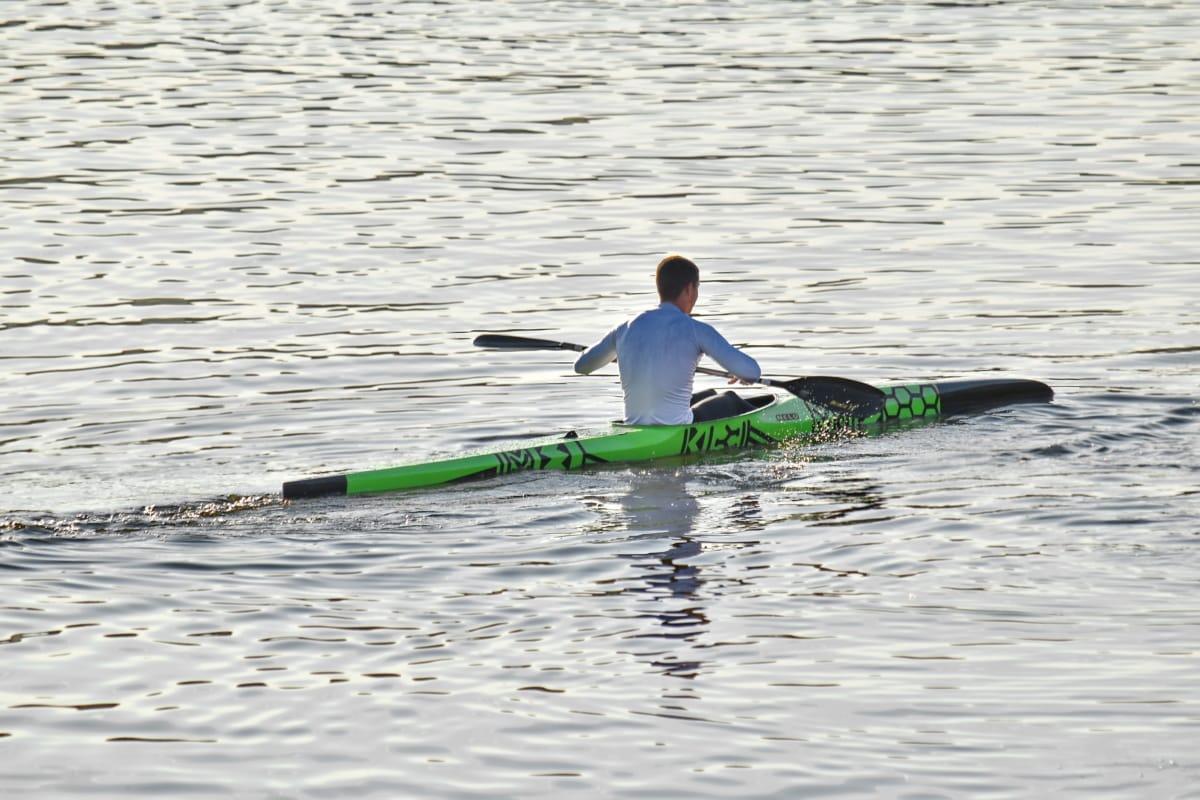 garçon, canoë-kayak, championnat, pagayer, eau, sport, rame, course, compétition, rapide