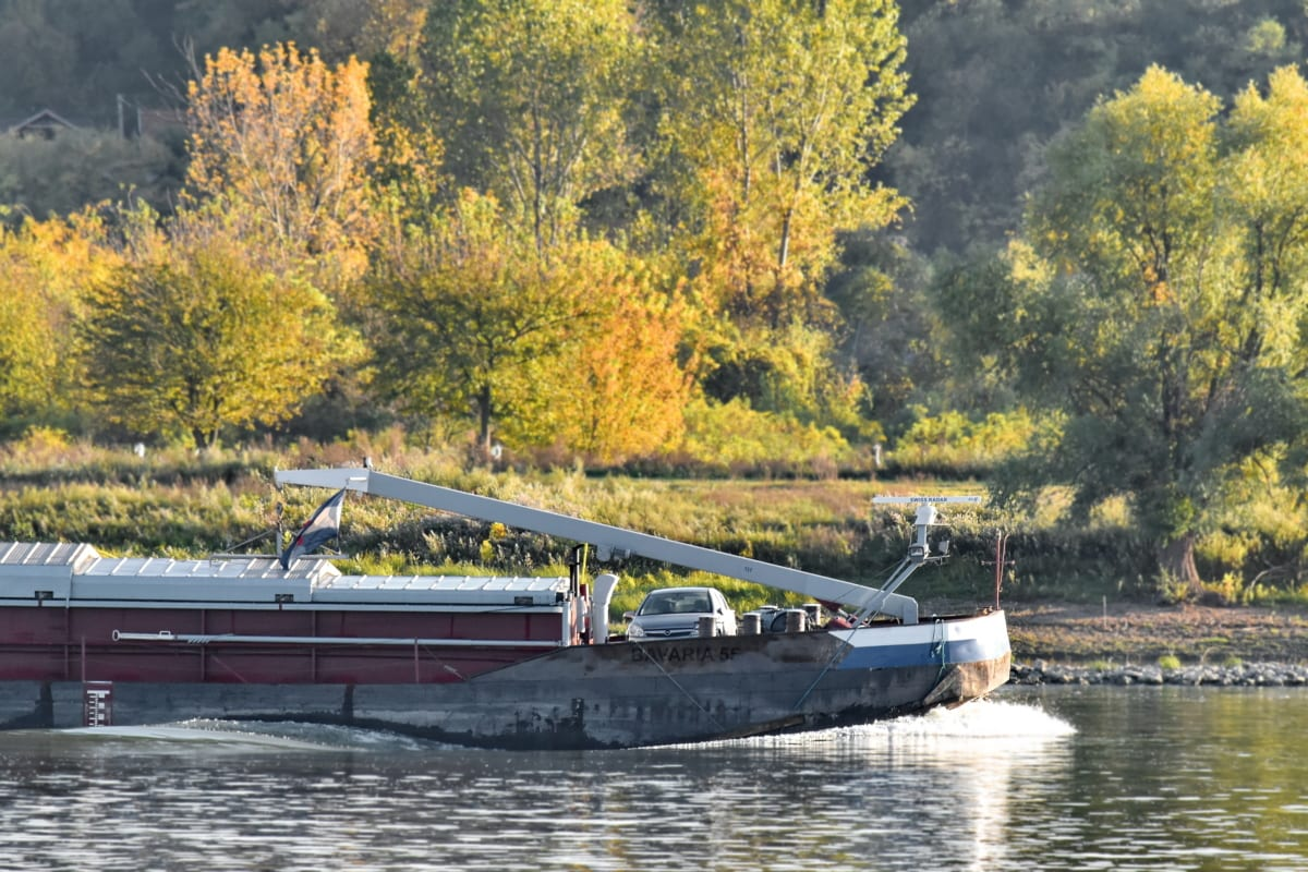 barge, Croatia, riverbank, transportation, water, river, channel, tree, nature, outdoors