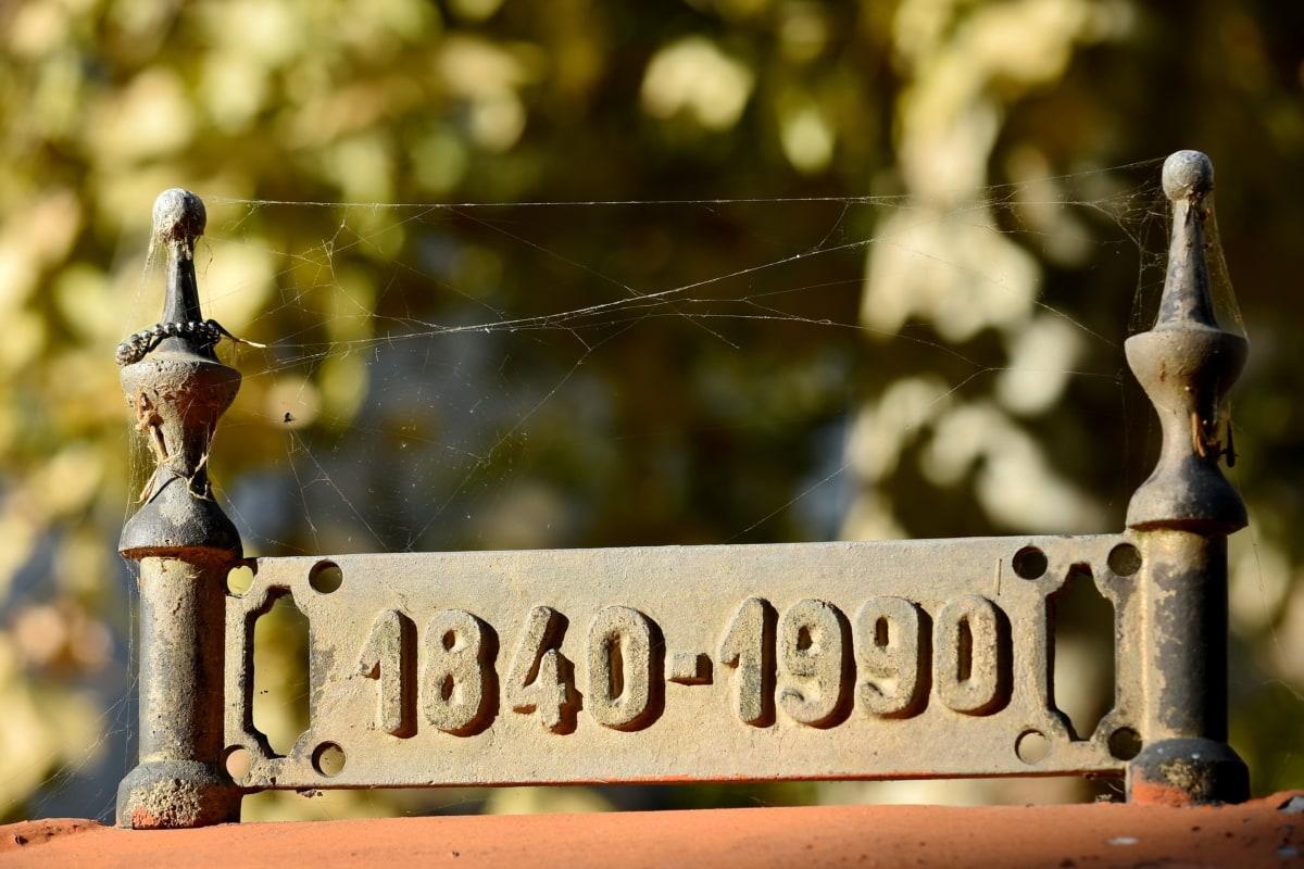 antiguo, hierro fundido, fecha, metal, antiguo, moho, tela de araña, año, hierro, vendimia