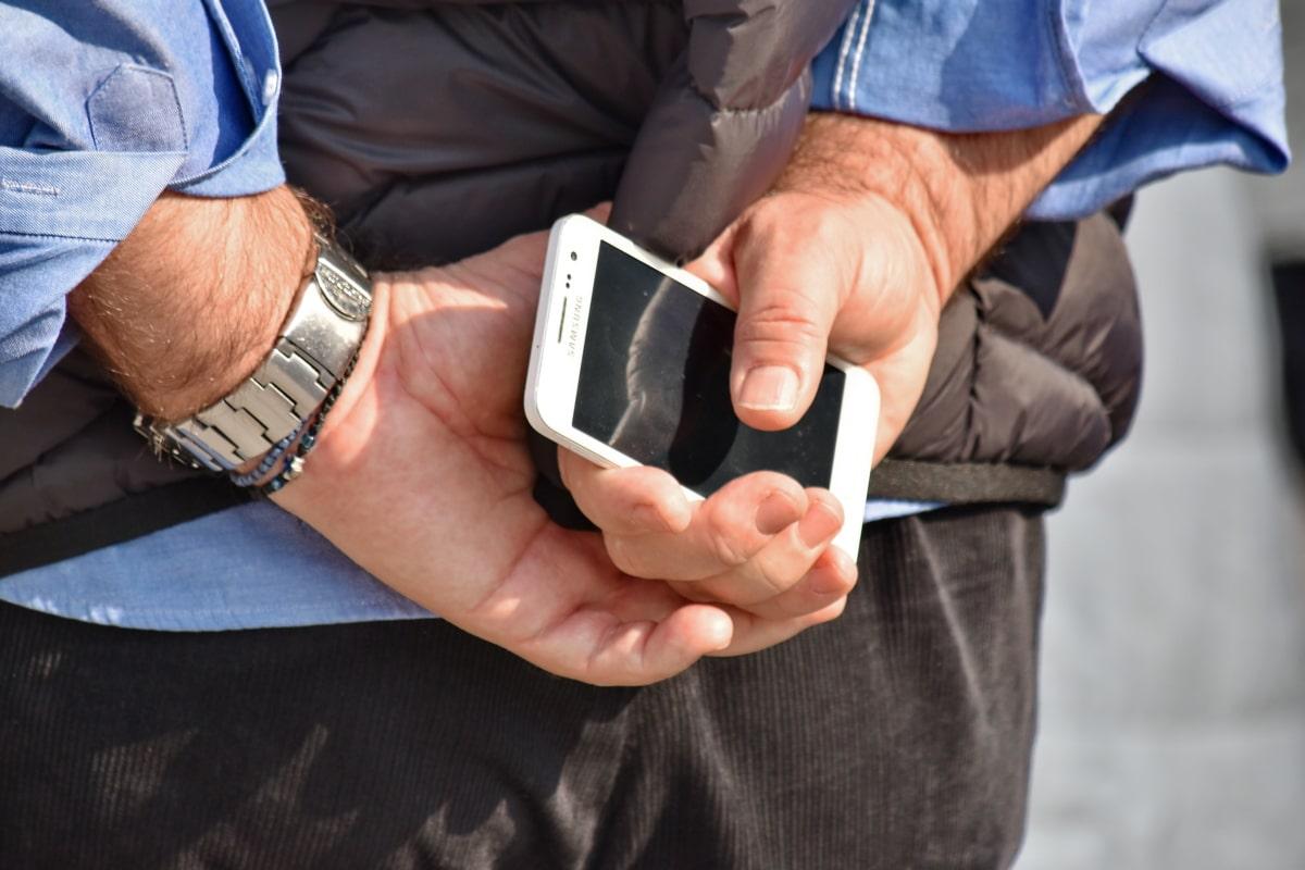 手, 移动电话, 手表, 人, 业务, 商人, 手, 人, 女人, 触摸