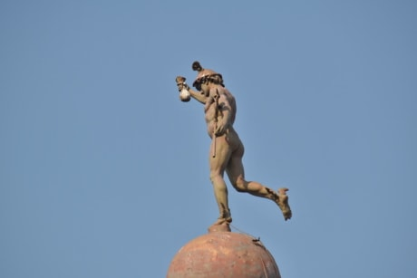 baroque, blue sky, bronze, dome, man, metal, rooftop, sculpture, statue, art