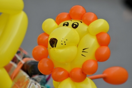 balloon, decoration, funny, lion, orange yellow, colorful, fun, toy, helium, health