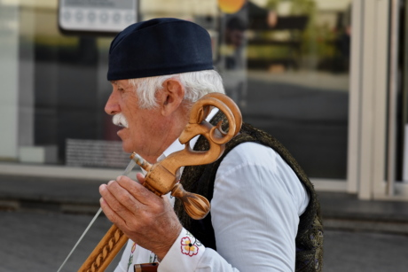 acoustic, Balcan, handmade, music, musician, performance, traditional, street, man, city