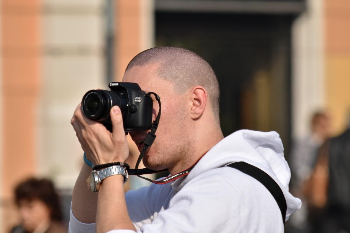 kameraet, øyeblikk, fotograf, fotojournalist, øyeblikksbilde, Zoom, linsen, kikkert, utstyr, mann