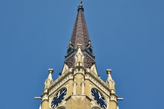 baroque, church tower, gothic, landmark, roof, rooftop, Serbia, architecture, building, tower