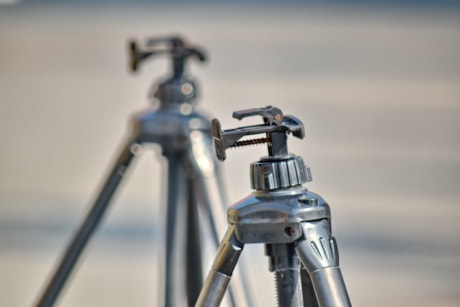 tripod, chrome, technology, equipment, steel, precision, industry, outdoors, nature, detail