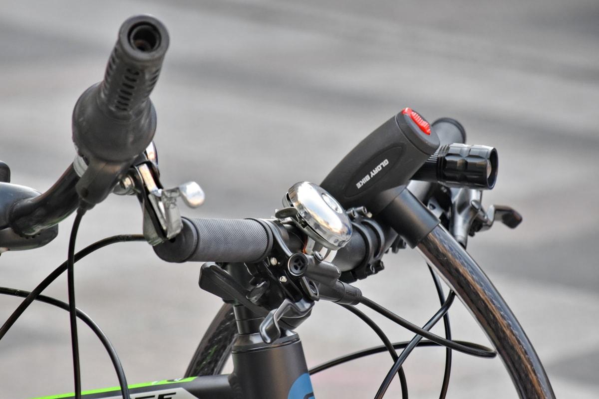 klok, fiets, vergrendelen, stuurwiel, fiets, wiel, chroom, machines, detail, buitenshuis