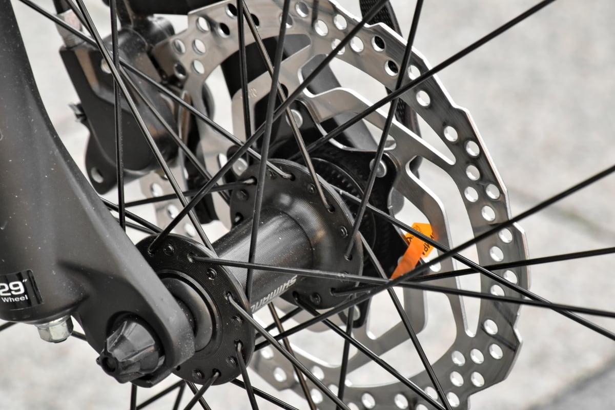bicycle, metal, metal gear, metallic, stainless steel, wheel, tire, gear, brake, steel