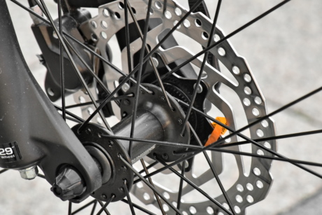 bicycle, metal, metal gear, metallic, stainless steel, wheel, tire, gear, brake, steel
