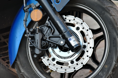 brake, motorcycle, scooter, steering wheel, tire, wheel, machinery, steel, technology, gear
