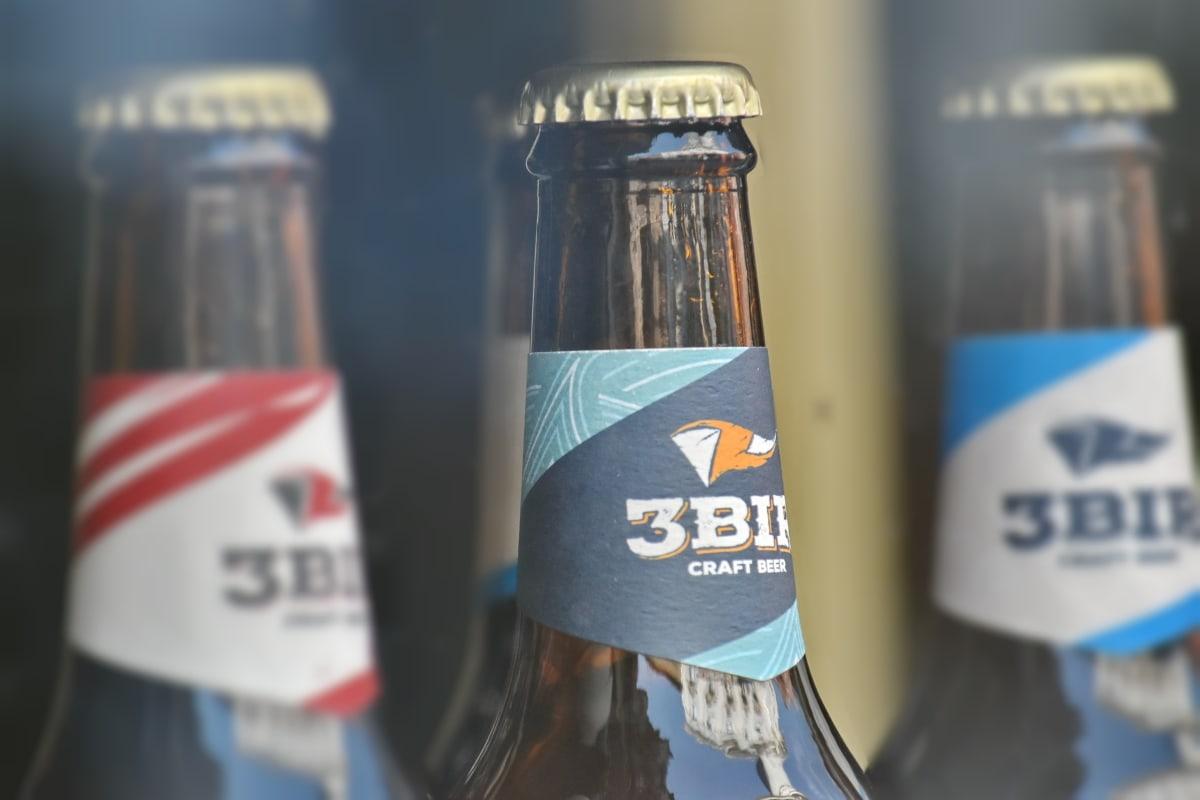 бира, бутилка, плавателни съдове, ръчно изработени, напитка, вертикални, контейнер, на открито, пълен, пластмаса
